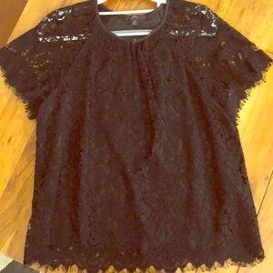 J.Crew Black Lace Short Sleeve Blouse - Size S EUC